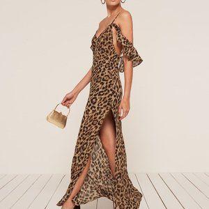 Reformation Leopard print Ferrara high slit dress